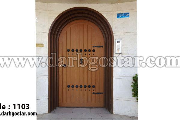 درب ورودی ساختمان طرح چوب کد درب 1103