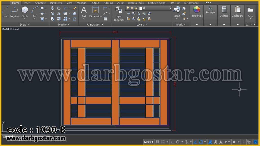 طراحی درب ساختمان کد درب 1030-B