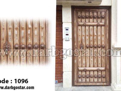 درب فلزی طرح چوب کد درب 1096