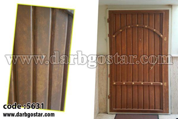 درب فلزی طرح چوب کد درب 5631