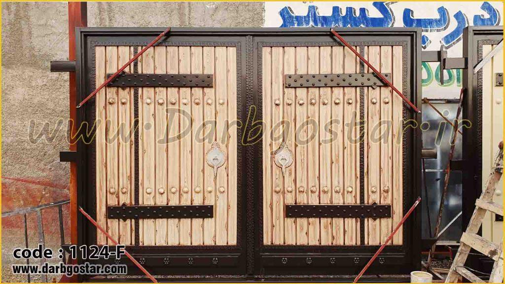 1124-F درب طرح چوب فلزی