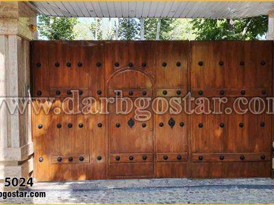 درب فلزی طرح چوب کد درب 5024